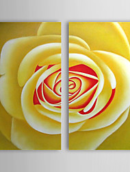 Hand Painted Oil Painting Floral Yellow Rose with Stretched Frame Set of 2 1308-FL0763