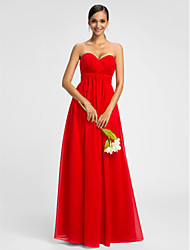Lanting Bride® Floor-length Chiffon Bridesmaid Dress - A-line Sweetheart Plus Size / Petite with Criss Cross