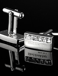 Gift Groomsman Personalized Classic Silver Cufflinks With Rhinestone