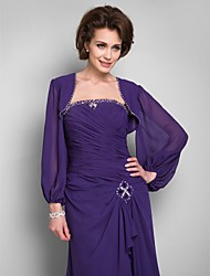 Wedding  Wraps Coats/Jackets Long Sleeve Chiffon Grape Wedding / Party/Evening / Office & Career / Casual Beading Open Front No