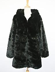 Grueso de manga larga con capucha cuello de piel sintética Fiesta / Abrigo con cremallera Casual