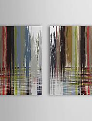 Peint à la main Peinture à l'huile abstraite avec cadre étiré Lot de 2 1308-AB0715