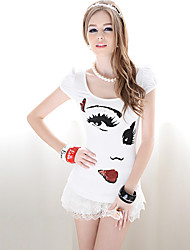 Rosa Puppe Big Eyes drucken Pailletten T-shirts