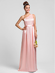 Lanting Bride Floor-length Charmeuse Bridesmaid Dress Sheath / Column One Shoulder Plus Size / Petite with