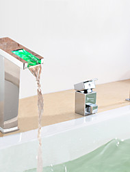Chrome Finish multicolor moderno LED Tubfaucet generalizada con ducha de mano