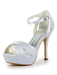 Women's Summer Satin / Stretch Satin Wedding Stiletto Heel BuckleBlack / Yellow / Pink / Purple / Red / Ivory / White / Silver / Gold /