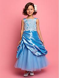 A-line/Princess Ankle-length Flower Girl Dress - Taffeta/Tulle Sleeveless