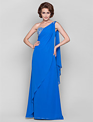 Sheath/Column Plus Size / Petite Mother of the Bride Dress - Floor-length / Watteau Train Sleeveless Chiffon
