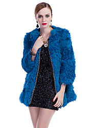 Nice 3/4 Sleeve Collarless Lamb Fur Party/Casual Coat(More Colors)