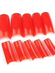 500PCS Red Pure Color cobertura completa francês pontas das unhas