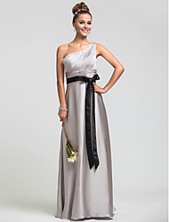 Lanting Bride® Floor-length Satin Chiffon Bridesmaid Dress - Sheath / Column One Shoulder Plus Size / Petite withBeading / Side Draping /