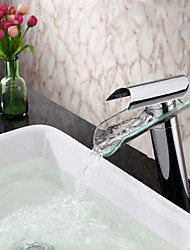 Bathroom Sink Faucet Contemporary Glass Spout Single Handle Waterfall Faucet