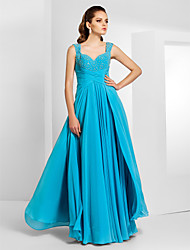 TS Couture Prom Formal Evening Military Ball Dress - Elegant Sheath / Column Sweetheart Straps Floor-length Chiffon withBeading Draping