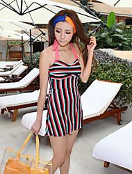 One Piece-Stripe Magro Swimwear Halter