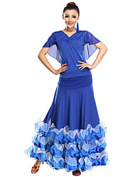 Performance Dancewear Viscose With Tulle And Ruffles Modern Dance Outfits for Ladies(More Colors)