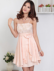 Women's Party / Lace A Line Dress , Strap Above Knee Lace / Satin