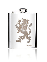 Gift Groomsman Personalized Silver Stainless Steel 7-oz Flask - Lion