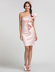 Lanting Bride® Short / Mini Satin Bridesmaid Dress - Sheath / Column One Shoulder Plus Size / Petite with Cascading Ruffles