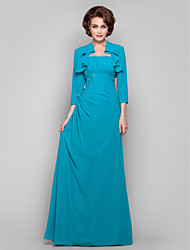 LAN TING BRIDE Dress - Two Pieces Sheath / Column Strapless Floor-length Chiffon with Appliques Beading Draping Side Draping