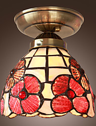 40W Artistic Flush Mount Light with Tiffany Glass Shade in Mosaic Floral Style