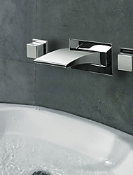 Contemporary Widespread Waterfall Wall Mount 3 Colors LED Bathroom Sink Faucet