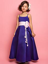 a-line Prinzessin Spaghetti-Trägern bodenlangen Satin Blumenmädchen Kleid