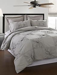 3-teilig 100% Baumwolle Marlon grau hand gefalteten Bettbezug Set