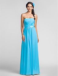 Floor-length Chiffon Bridesmaid Dress - Pool Plus Sizes / Petite Sheath/Column Strapless
