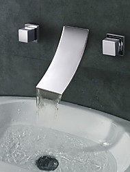 Chrome Finish Widespread Designer Curve Spout Waterfall Bathroom Sink Faucet