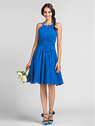 Knee-length Chiffon Bridesmaid Dress - Plus Size / Petite Sheath/Column Halter / High Neck