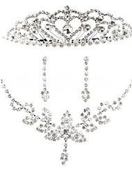 Pure Alloy Silver Plated With Rhinestone Wedding Bridal Jewelry Set(Including Necklace,Tiara and Earrings)