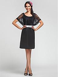 Vestido de Dama de Honor - Negro Corte Recto Escote A la Base - Hasta la Rodilla Encaje/Satén Tallas grandes