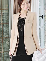 RIVER Women's Elegant Slim Sequins Embellish V Collar Coat Nude