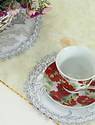 Conjunto de 4 Prata Tópico Padrão Floral Coasters
