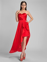 TS Couture Cocktail Party Formal Evening Dress - High Low Sheath / Column Sweetheart Asymmetrical Satin Chiffon withSash / Ribbon Side