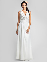 Lanting Bride Floor-length Chiffon Bridesmaid Dress Sheath / Column Cowl Plus Size / Petite with Ruching / Side Draping