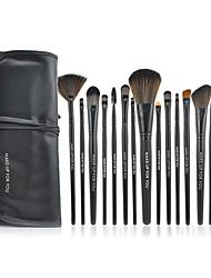 Make-up For You® 15pcs Makeup Brushes set Pony/Horse Hair  Limits bacteria/Professional Black Blush/Eyeshadow/Brow/Eyeliner/Lip/Lash/Powder Brush