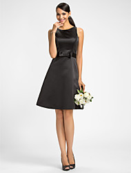 Lanting Bride® Knee-length Satin Bridesmaid Dress - A-line Jewel Plus Size / Petite with Bow(s) / Sash / Ribbon