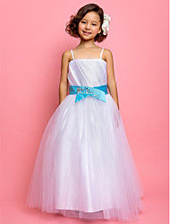 A-line Spaghetti Straps Ankle-length Tulle Satin Flower Girl Dress