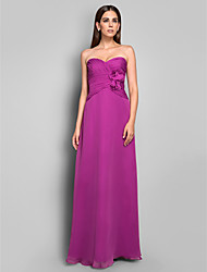 Sheath/Column Sweetheart Sleeveless Floor-length Chiffon Evening Dress
