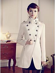 Stand Collar Double sein de laine manteau mince de coupe de la femme
