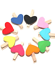 Couleur en forme de coeur peint Clips en bois (10 PCS)