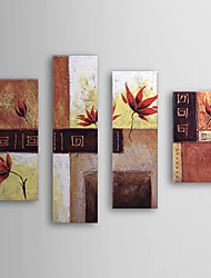Hand Painted Oil Painting Floral with Stretched Frame Set of 4 1308-FL0590
