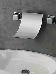 Contemporary Designer Curve Spout Waterfall Bathroom Sink Faucet