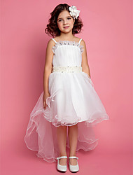A-line Ball Gown Princess Knee-length Flower Girl Dress - Satin Tulle Spaghetti Straps with Crystal Detailing Pearl Detailing