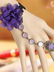Handmade Violet Chiffon Blossom Classic Lolita Ring Bracelet