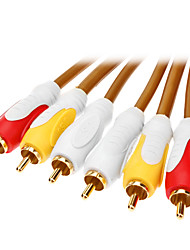 3xRCA Male to Male AV Cable Golden for Home Theater(1.8M)