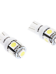 Ampoule pour voiture (DC 12V, 2-Pack) T10 1W 5-SMD 70LM 6000-6500K lumière blanche LED