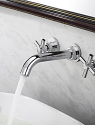 Contemporary Widespread Bathroom Sink Faucet (Wall Mount)