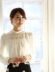 Yizhiyan Revers Puff Sleeve Lace Stitching Chiffon Tops (Random Lace Pattern)